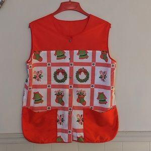 Vintage apron vest Christmas theme one size